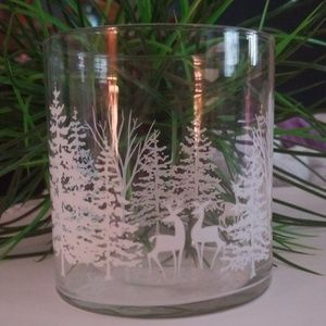 Deer/tree, winter/Christmas glass candle holder